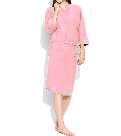 dc8fa7f88a Buy Linenwalas Super Comfort Unisex Bath Gown Night Gown Pollar Fleece  Plain Bath Robe - Pink - XL Large Online at Low Prices in India - Amazon.in