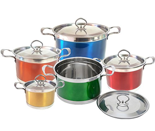 Esnbia 18/10 Stainless Steel 10-Piece Cookware Set with Different SizexFF0C;Five ColorxFF0C;Surface Polished ESC012