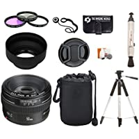 Canon EF 50mm f/1.4 USM Standard & Medium Telephoto Lens for Canon SLR Cameras + Pouch + Filter Kit + Tripod + Lens Cleaner + Digital Camera Lens Accessories Bundle Key Pieces Review Image