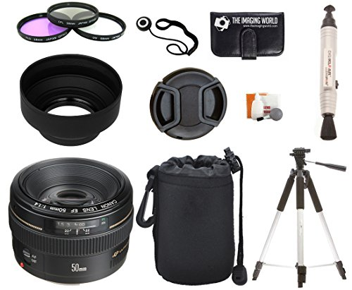 Canon EF 50mm f/1.4 USM Standard & Medium Telephoto Lens for Canon SLR Cameras + Pouch + Filter Kit + Tripod + Lens Cleaner + Digital Camera Lens Accessories Bundle