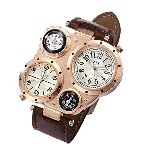 Atmosférica doble movimiento Brújula cuarzo Relojes de moda, Hombres de moda reloj al por mayor