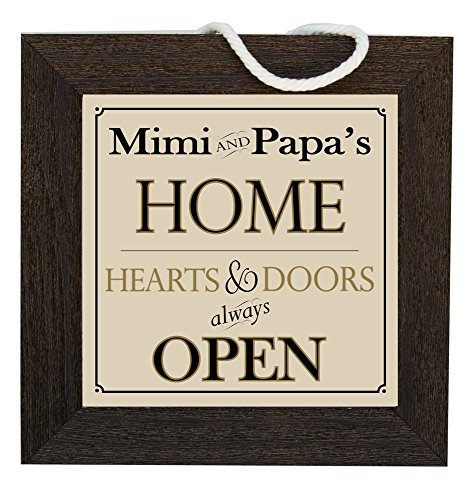 Mimi and PaPa's Home Decorative Framed House Sign, Hearts and Doors Always - Heart Framed