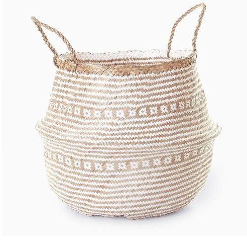 Hands Craft Medium Natural Plush Woven Seagrass Tote Belly Basket Storage, Laundry, Picnic, Plant Pot Cover Beach Bag (Plush Criss-Cross Seagrass White, Medium)