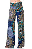 12TREES Women's Casual Bohemian Wide Leg Palazzo Pants (J264SKAO Navy, 2X-Large)