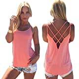 Women's Cute Criss Cross Back Tank Tops Loose Hollow Out Camisole Shirt(Pink,X-Large)