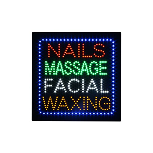 LED Nails SPA Massage Facial Waxing Open Light Sign Super Bright Electric Advertising Display Board for Eyelash Extension Business Shop Store Window Bedroom 16 x 16 inches (HSN0195) ()