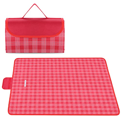 Onlyesh Outdoor Picnic Blanket, 200x200 Waterproof Beach Picnic Mat, Large Picnic Blanket for Beach/Park/Camping/Hiking/Family Concerts/Grass Trips, Red