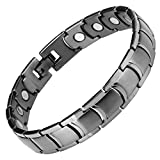 Willis Judd New Mens Gunmetal Titanium Magnetic Therapy Bracelet in Velvet Box with Free Link Removal Tool