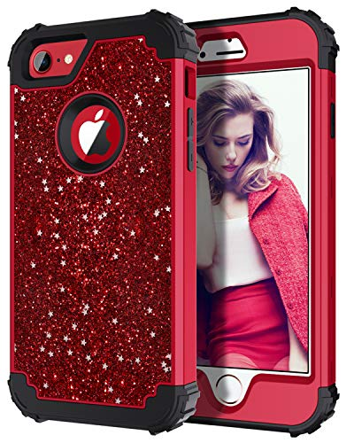 Hekodonk Compatible iPhone 8 Case, iPhone 7 Case, Luxury Stars Sparkle Glitter Shiny Heavy Duty Shockproof Full-Body Protective High Impact Hybrid Cover for Apple iPhone 8 / iPhone 7 (Bling Red)
