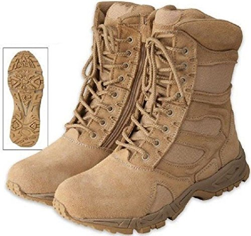 Tactical Boots Desert Tan Light Weight Side Zipper Deployment Boots