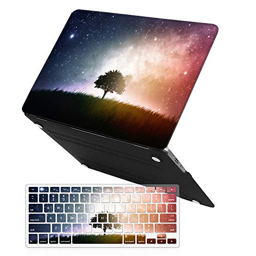 iCasso 2 in 1 Macbook Air 13 Inch Case Rubber Coated Glossy Soft Touch Hard Shell Plastic Protective Case Cover For Apple Macbook Air 13 Inch Model A1369/A1466 With Keyboard Cover - Star Tree