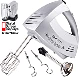 : MOSAIC Hand Mixer Electric 300W Powerful 6 Speeds Mixer Immersion Blender with Turbo and Eject Button 9 Min Continuous Operation Included 5 Stainless Steel Attachments