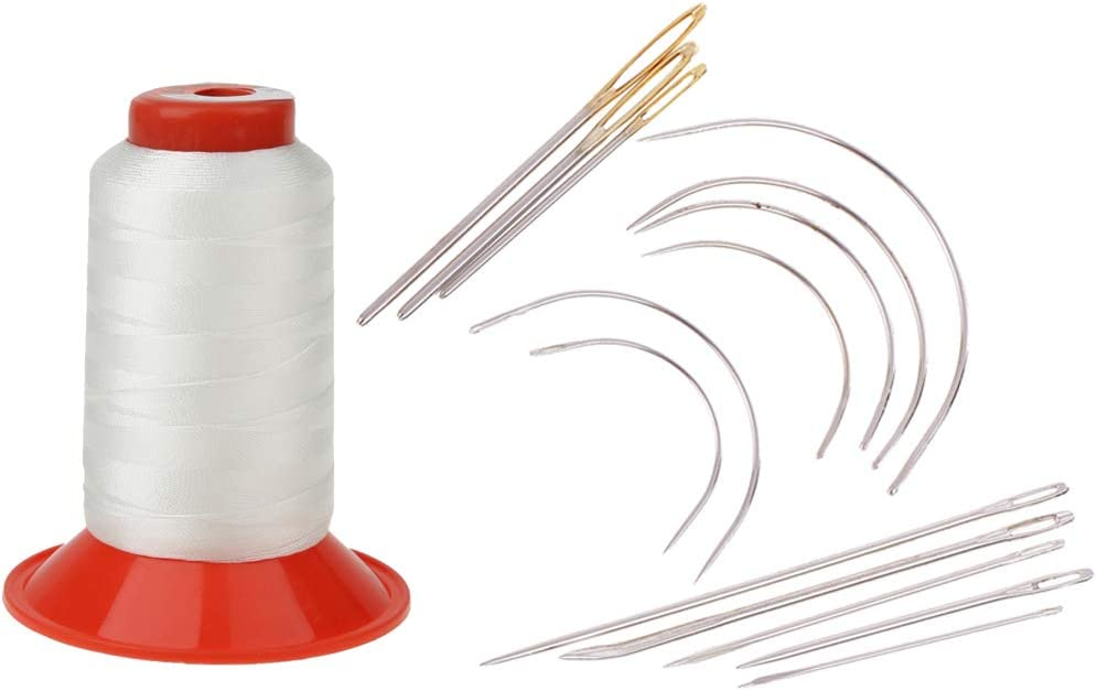 LoveinDIY 15Pc Curved Sewing Needles Repair Kit Upholstery Carpet Leather Thread Spool