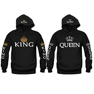 ThinIce Fashion Letter Print King & Queen Matching Couple His and Her Hooded Sweatshirt Hoodies