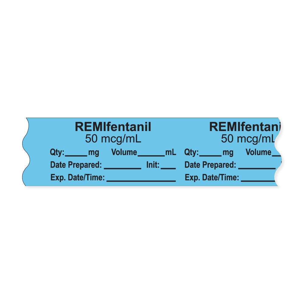 PDC Healthcare AN-2-38D50 Anesthesia Tape with Exp. Date, Time, and Initial, Removable, ''REMIfentanil 50 mcg/mL'', 1'' Core, 3/4'' x 500'',333 Imprints, 500 Inches per Roll, Blue (Pack of 500)