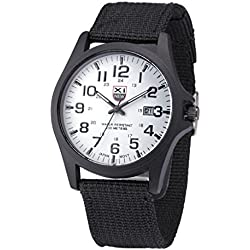 YANG-YI Outdoor Date Stainless Steel Military Sports Analog Quartz Army Waterproof Wrist Watch Mens (Black&White)
