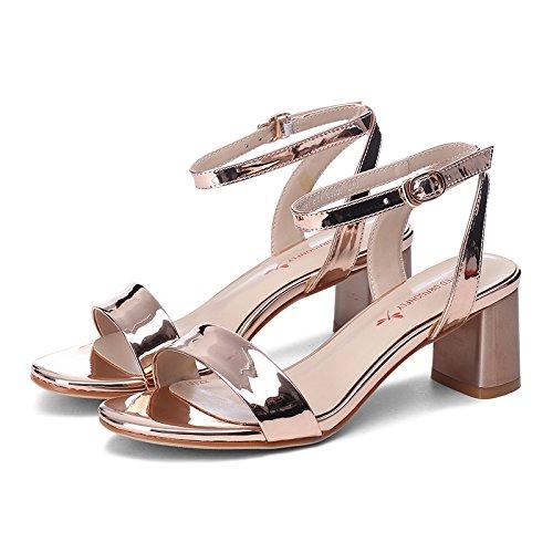SHOESHAOGE Mot Avec Lumineux Fuite Chaussures De Face Orteil Couleur Femmes Élégant Un unie Les Simple Talons Carrière Sandales rwCrUvq