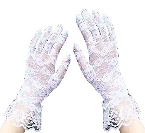 Gauss Kevin Sexy Vintage Floral Summer Short Lace Gloves UV Protection Wrist Length Prom Party Driving Wedding Gloves White (Vintage White Glove)
