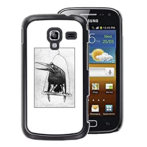A-type Arte & diseño plástico duro Fundas Cover Cubre Hard Case Cover para Samsung Galaxy Ace 2 (Raven Black Sketch Drawing White Bird)