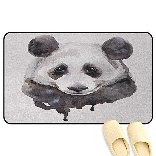 Animal Mat Rug Watercolor Cute Panda Bear Animal Asian Wildlife Zoo Theme Artwork Image Beige White and Black Decorative Floor Mat W47 x L59 INCH