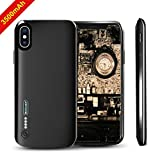Battery Case for iPhone X,NUTK 3500mAh Thin Rechargeable Charging Case Supports Lightning Headphone/3.5mm Jack Earphone, Ultra Slim Extended Battery Pack Power Bank Protective Cover for iPhone X-Black