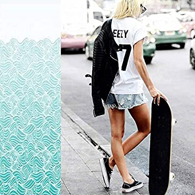 Classic Concave Skateboard Waves Pattern Horizontally Seamless Border Background Blue Gradient Longboard Maple Deck Extreme Sports and Outdoors Double Kick Trick for Beginners and Professionals : Sports & Outdoors