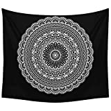 indian room decor Black and White Mandala Tapestry - Psychedelic Indian Bohemian Mandala Wall Blanket for Room Decor 51x59 Inches