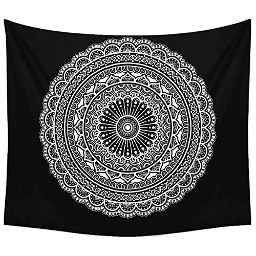 Black and White Mandala Tapestry - Psychedelic Indian Bohemian Mandala Wall Blanket for Room Decor 51x59 Inches
