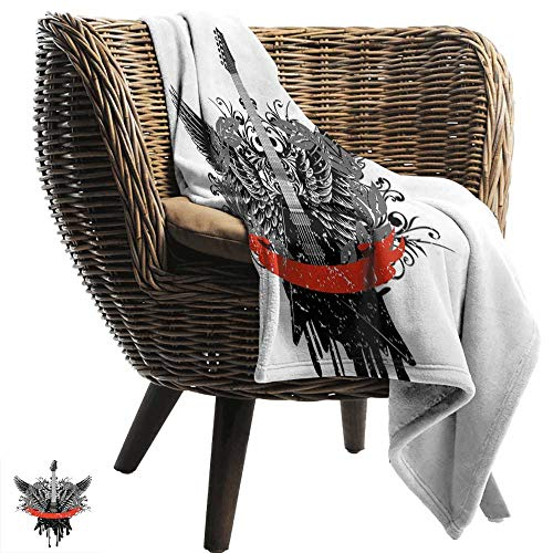 BelleAckerman Flannel Throw Blanket,Rock Music,Guitar Wings Leaf Pattern Ribbon Color Dripping Electronic Instrument Design,Scarlet Black,for Bed & Couch Sofa Easy Care 50