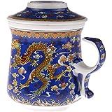 TISANIERE pour THE ou INFUSION - Motif Impérial - Dragons Chinois - Bleu dominant