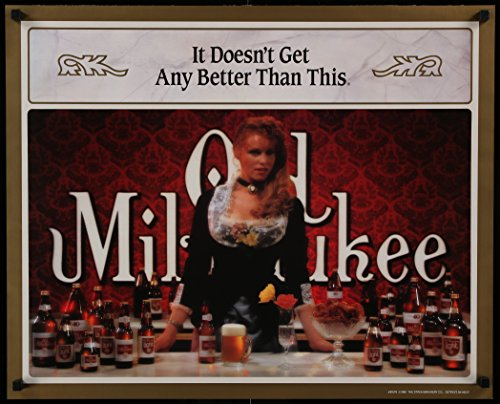 Old Milwaukee 22x27 commercial poster '89 great image of bar wench w/many beer bottles!
