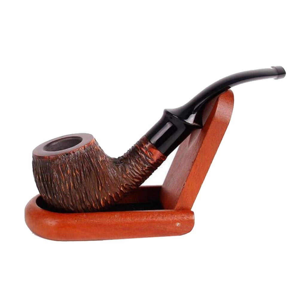 AOHMG Wooden Smoking Tobacco Pipes with Stand, Handmade Wooden Bent Tobacco Pipes 9mm Filter Wooden Stand Wooden Stand by AOHMG