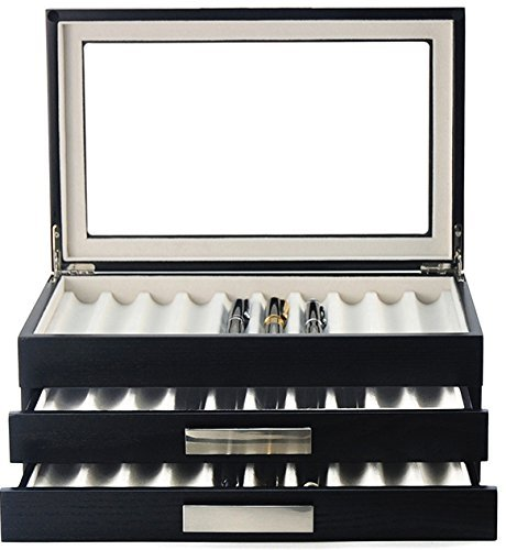 Decorebay Executive Double Drawer Wooden Grain 30 Fountain Pen Collector Organizer Box with Glass Window (Dark Night)