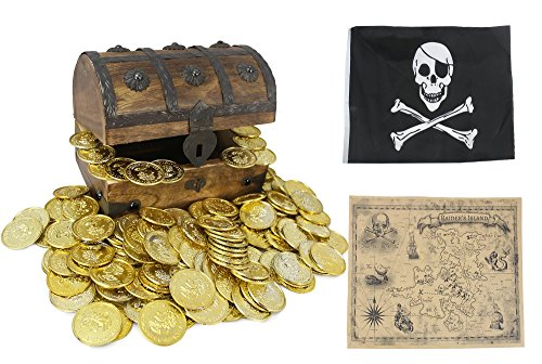 Well Pack Box Wood Treasure Chest Box Toy Includes Detailed Golden Plastic Coins, Real World Brown Nautical Paper Map, and Authentic Jolly Roger Pirate Flag For Kids, Birthdays, Halloween, and Parties (Toy Wooden Chest Durable)