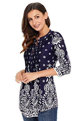 2 Floreale Blusa Aleumdr Bottoni 3 Scuro Elegante Maglietta Manica T Con Camicetta Maniche 4 Lunghe Tunica Blu Donna Shirt qqwCUv