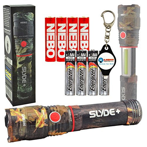High Impact Flashlight Ring (Nebo Slyde+ (Plus) Camo 6618 LED Flashlight Worklight Magnetic Base Adjustable Zoom with 4 EXTRA Energizer AAA batteries and 1x Lightjunction Keychain Light)