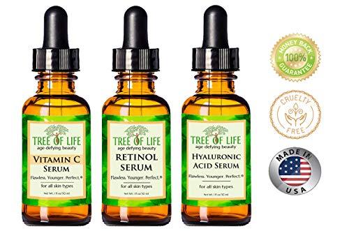 51mg0Wkes L - Anti Aging Serum 3-Pack for Face - Vitamin C Serum, Retinol Serum, Hyaluronic Acid Serum - Face Serum Full Regimen