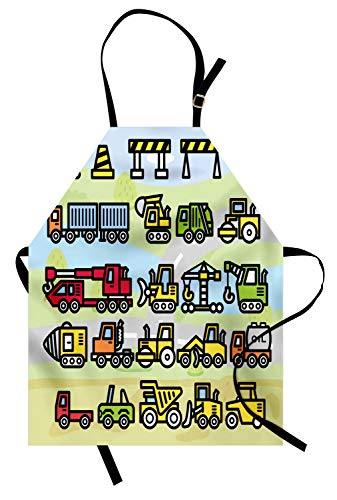 Ambesonne Nursery Apron, Excavator Loader Machines Signs and Vehicles in Cartoon Style Drawing Illustration, Unisex Kitchen Bib with Adjustable Neck for Cooking Gardening, Adult Size, Green Yellow
