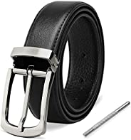 Mens Belt Genuine Leather Belt Pin Buckles Adjustable Dress Belt Business Jeans Classic Casual Belt for Men Bl