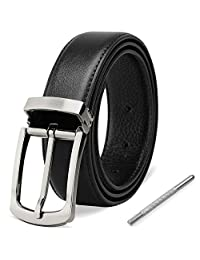 Mens Belt Genuine Leather Belt Pin Buckles Adjustable Dress Belt Business Jeans Classic Casual Belt for Men Black