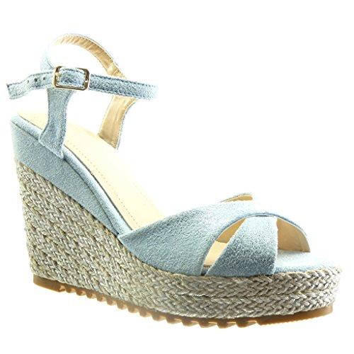 Plateforme Angkorly 5 compensé Talon CM Mode Plateforme 11 Femme Sandale Bleu Corde Chaussure Espadrille PA8rIqAxpw