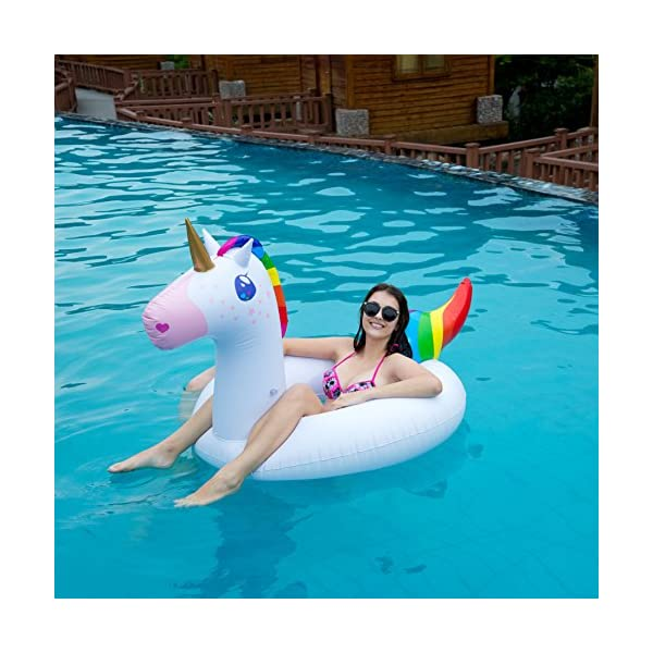 JOYIN Gorgeous Inflatable Unicorn Tube, Pool Float, Fun Beach Floaties, Swim Party Toys, Summer Pool Raft Lounge for… 7
