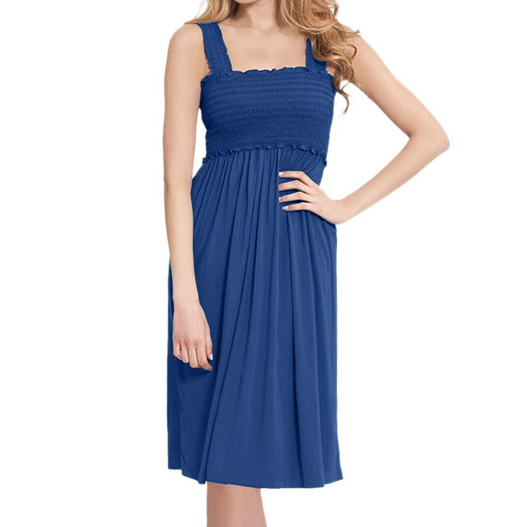 Jeash Women's Maternity Elegant Nursing Wrap Sleeveless High Waist Dress Solid Color Double Layer Sundress (S, Blue) by Jeash---Maternity dress