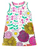 Jobakids Girls Summer Cotton Sleeveless Cute Prints with Pockets Dress for Toddler(Blue/6T/6-7YRS)