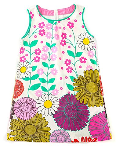 Jobakids Girls Summer Cotton Sleeveless Cute Prints with Pockets Dress for Toddler(Blue/2T/2-3YRS) by Jobakids (Image #1)