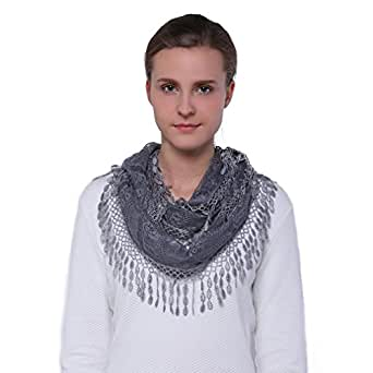 Scarfand's Delicate Lace Infinity Scarf with Teardrop Fringes (Gray)