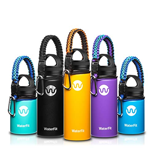 WaterFit Vacuum Insulated Water Bottle - Double Wall Stainless Steel Leak Proof BPA Free Sports Wide Mouth Water Bottle - Travel Straw Lid or Narrow Lid Mug –12 to 32oz -5 Colors with Paracord Handl