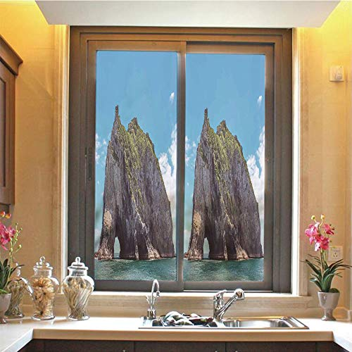 Seaside Decor 3D No Glue Static Decorative Privacy Window Films, Famous Elephant Shape Rock with The Grand Hole in Bay of Islands Nz Cavern Peace Photo,17.7