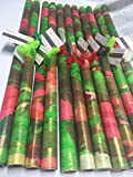 Hand-painted/PAINTED PAPERS Gift Wrap-26''X 60''Red/Green/White-1 sheet-Buyers Choice