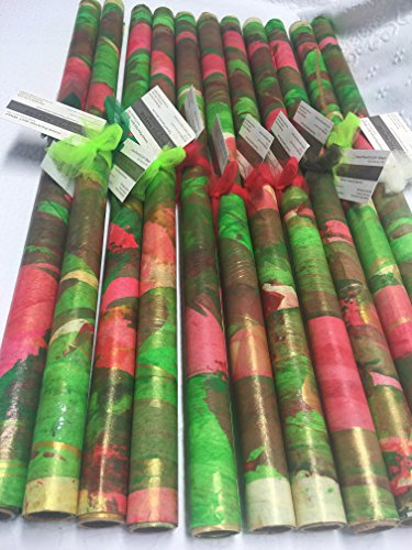 Hand-painted/PAINTED PAPERS Gift Wrap-26''X 60''Red/Green/White-1 sheet-Buyers Choice by PAINTED PAPERS Hand Painted Gift Wrap/Design Papers-Made in the USA